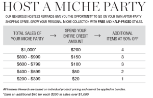 See what fabulous hostess benefits you'll get for hostessing your in person or virtual MICHE show!!