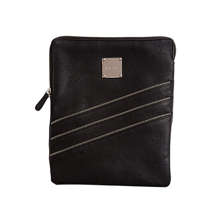 Tablet sleeve black w zipper trim